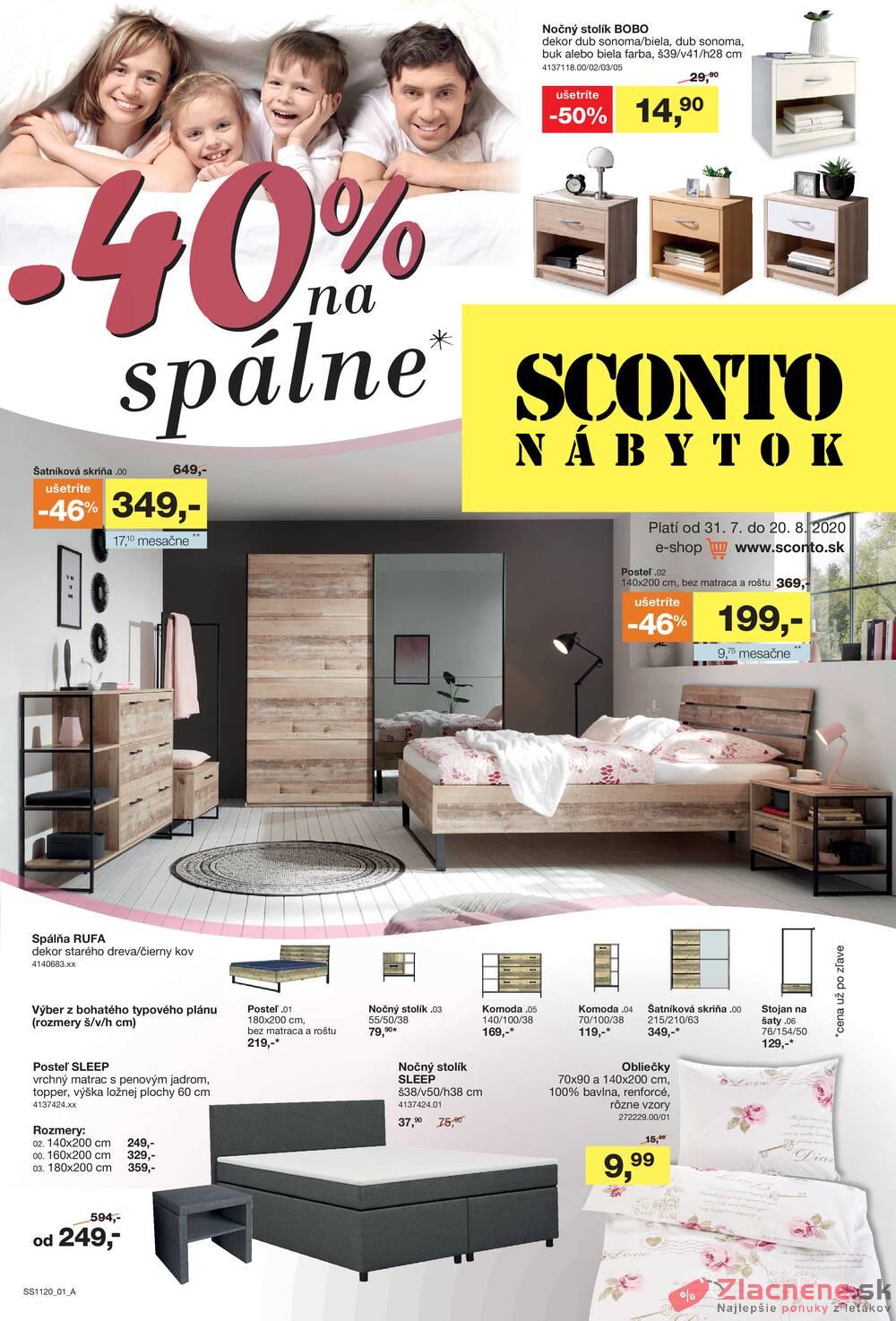 Leták Sconto nábytok - Sconto nábytok od 31.7. do 20.8.2020 - strana 1